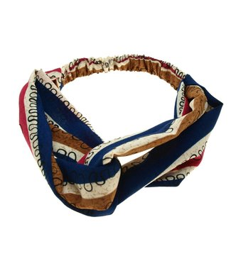 Hairband red, blue and cognac