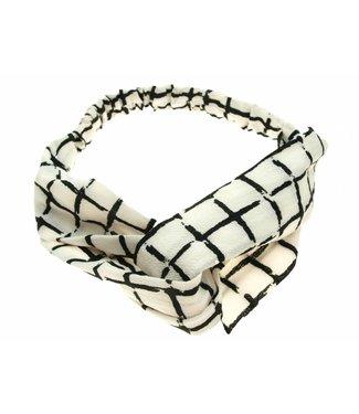 Haarband wit/zwart geruit