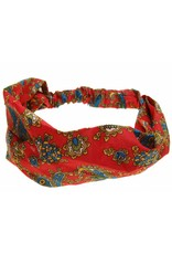 Hair band red with paisly motif