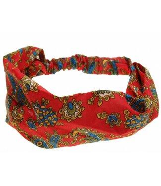 Haarband rood met paisly motief