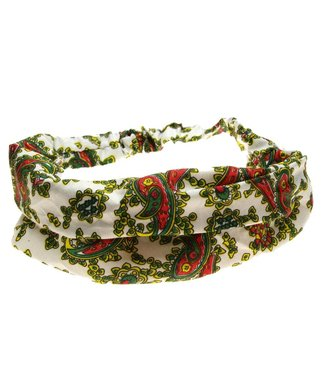 Hair band white with paisly motif
