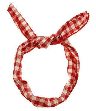 Wire wrap hairband red/white checkered