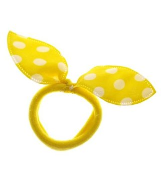 Kids Hair elastic bow yellow with white dots
