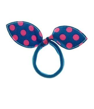 Kids Haarelastiek strik blauw met fel roze stippen