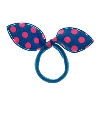 Kids Hair elastic bow blue with bright pink dots
