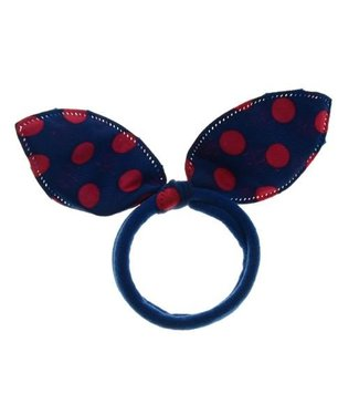 Kids Hair elastic bow blue with pink dots