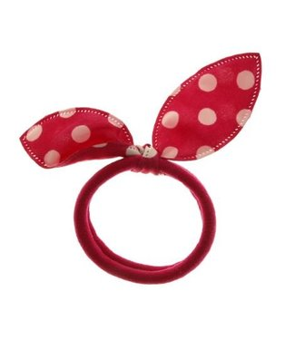 Kids Hair elastic bow dark pink with white dots