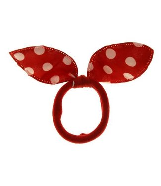 Kids Hair elastic bow red with white dots