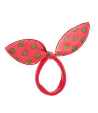 Kids Hair elastic bow orange/red with green dots