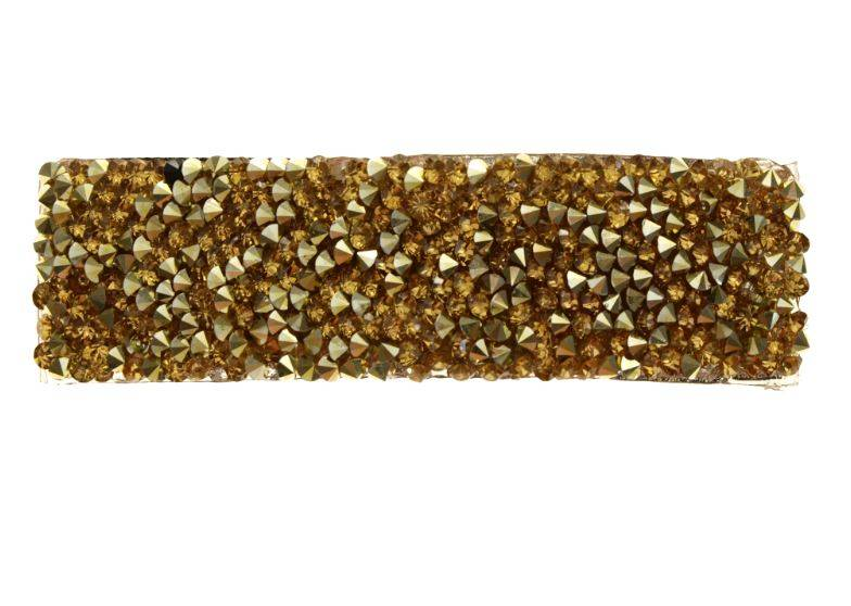 Klik klak haarspeld met strass goudkleur 8 cm. per stuk