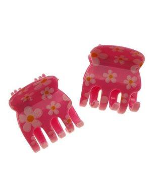 Haarklem Roze met Bloemmotief 2 cm. per stuk