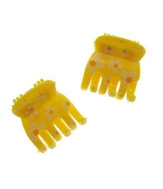 Haarklem Geel met Bloemmotief 2 cm. per stuk
