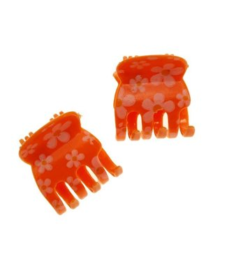 Hair clamp Orange with Floral pattern 2 cm. per piece