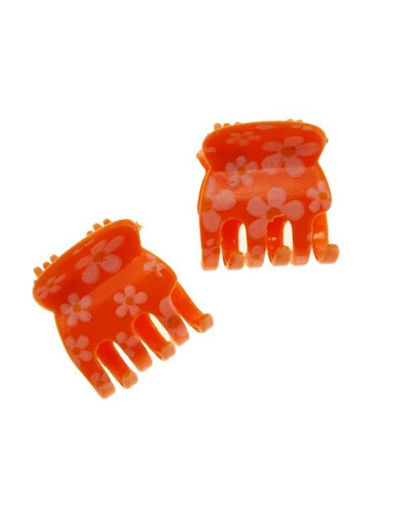 Haarklem Oranje met Bloemmotief 2 cm. per stuk