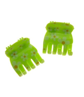 Hair clamp Green with Floral pattern 2 cm. per piece