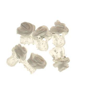 Haarklemmetje Transparant met Wit Stoffen Roosje 1 cm. 6 stuks