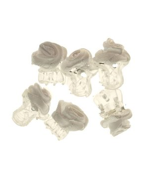 Hair clip Transparent White Fabric Rose 1 cm. 6 pieces