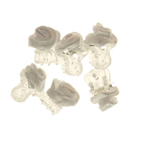 Haarklemmetje Transparant met Wit Stoffen Roosje 1 cm. per stuk