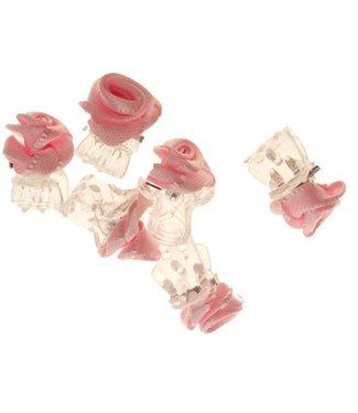 Haarklemmetje Transparant met Roze Stoffen Roosje 1 cm. 6 stuks