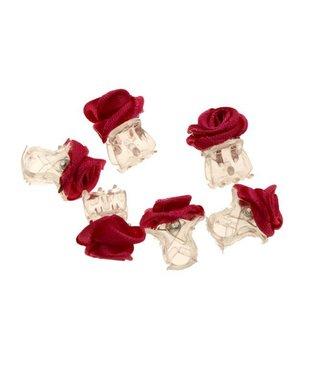 Haarklemmetjes Transparant Fuchsia Roosje 1 cm. 6 stuks