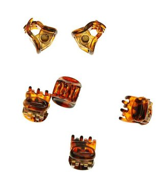 Hair clamp Translucent  brown shades 1 cm. 10 pieces
