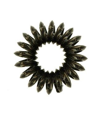 Transparent spiral elastic - Charcoal - 3 pieces