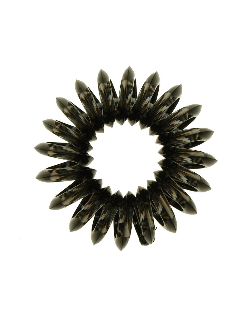 Transparant spiraal elastiek - Charcoal - 3 stuks
