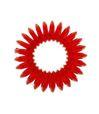 Transparant spiraal elastiek - Cranberry - 3 stuks