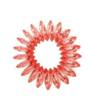 Transparent spiral elastic - Flamingo - 3 pieces