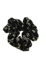 Scrunchie zwart met bloemetjes