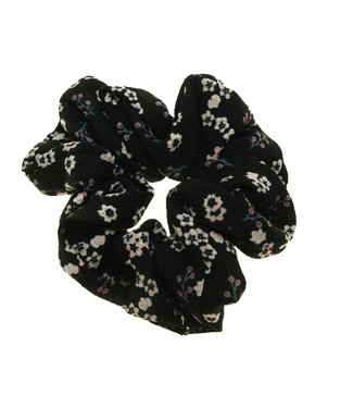 Scrunchie black with flowers