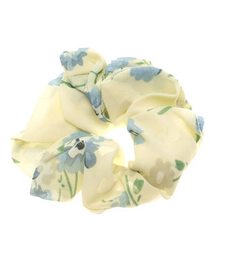 Scrunchie vanille with blue flower