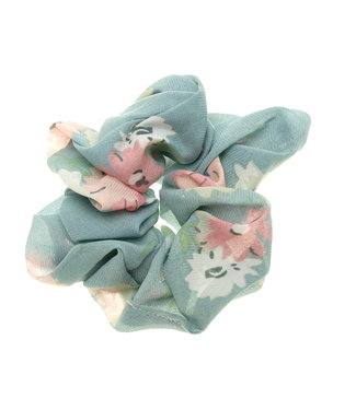 Scrunchie blue with prink flower