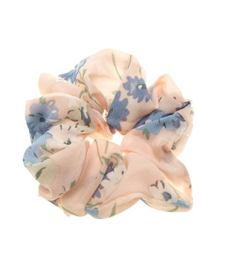 Scrunchie old pink with blue flower