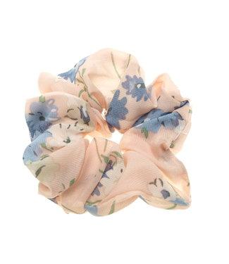 Scrunchie oud roze met blauwe bloem