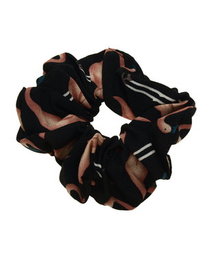 Scrunchie black with flamingo
