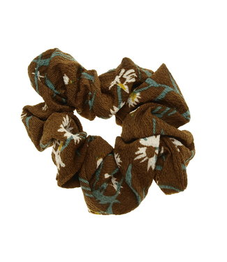 Scrunchie brown with white flower