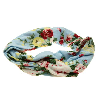 Hairband pastel blue with floral print