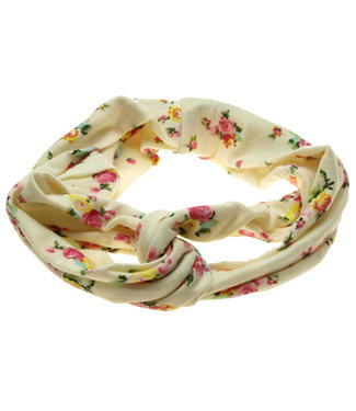 Haarband off white met roosjes print