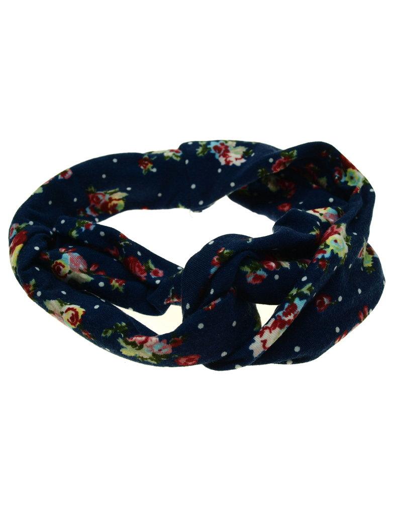 Haarband donkerblauw met roosjes print