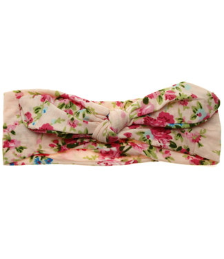 Baby hairband with knot pastel pink with print