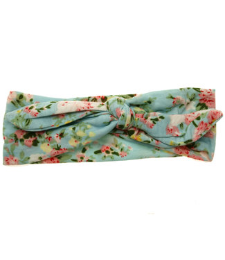 Baby hairband with knot pastel blue with print