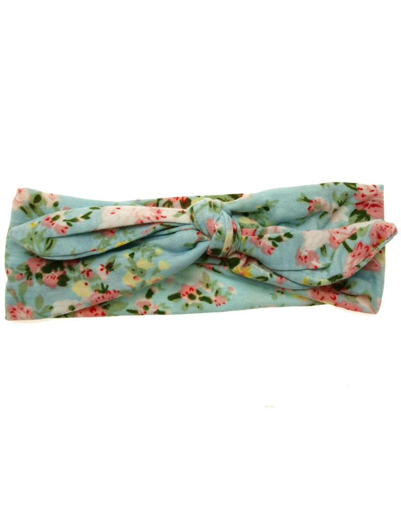 Baby Haarbandje met knoop pastel blauw met print
