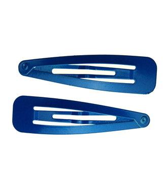 Metallic Klik Klak Haarspelden - Blauw - 7 cm