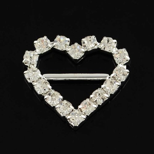 Sandal Buckle Rhinestone Heart
