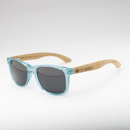 Bamboo Sunglasses Blue Transparent Frame