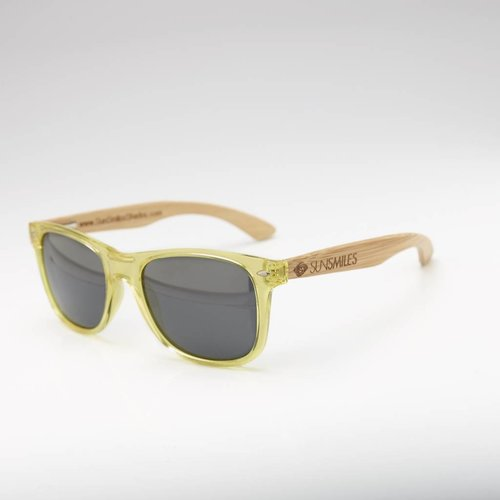 Bamboo Sunglasses Yellow Transparent Frame