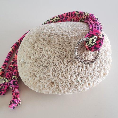 Classic Print Linten Pink Leopard met Zilveren Ringen
