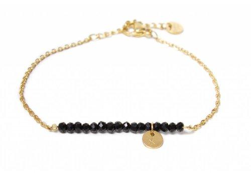 Label Kiki Black stone bracelet gold