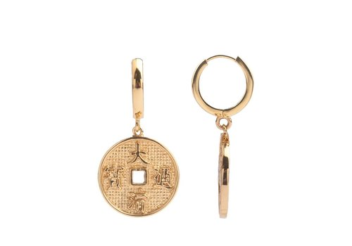 All the Luck in the World East Earrings Lucky Coin - Gold